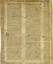 Immagine di pergamena con glossa